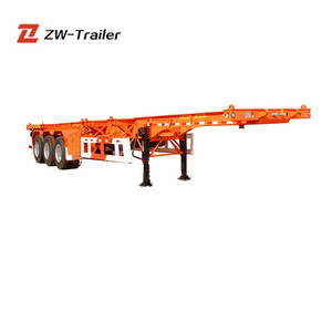 ZW Brand Cheapest Transporting 40ft Container Skeleton Semi Trailer