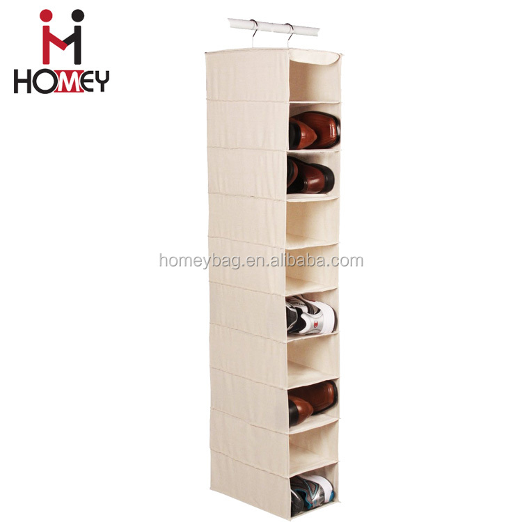 OEM multipurpose canvas hanging shoe storage 10 shelf hanging storage