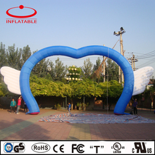 inflatable heart shape blue wedding arch with wings