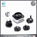 Multiple usb charger plug 4-port wall charger with Eu US UK Au interchangeable plugs