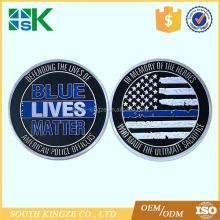 50*3mm new arrival commemorate crafts silver plated US flag thin blue line lives matter challenge coins