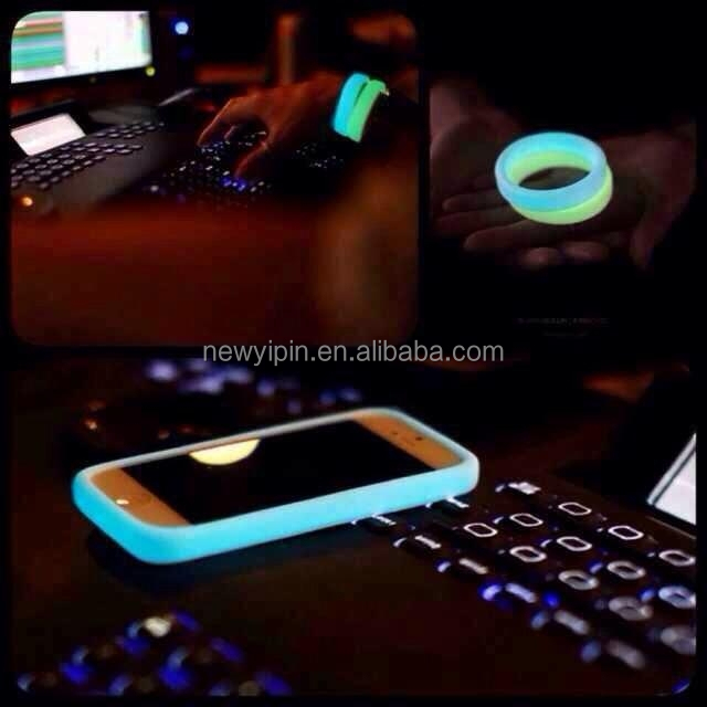 Glow in the dark silicone bands phone cover ,camera lens cover,Silicone Bracelet Cell Phone case Rubber Hair Band