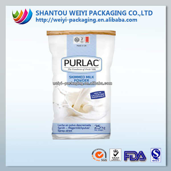 Custom printed full cream milk powder 25kg bags with large capacity