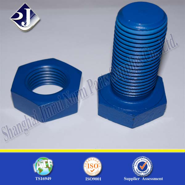 blue color titanium bolts with nut carbon steel grade 8.8