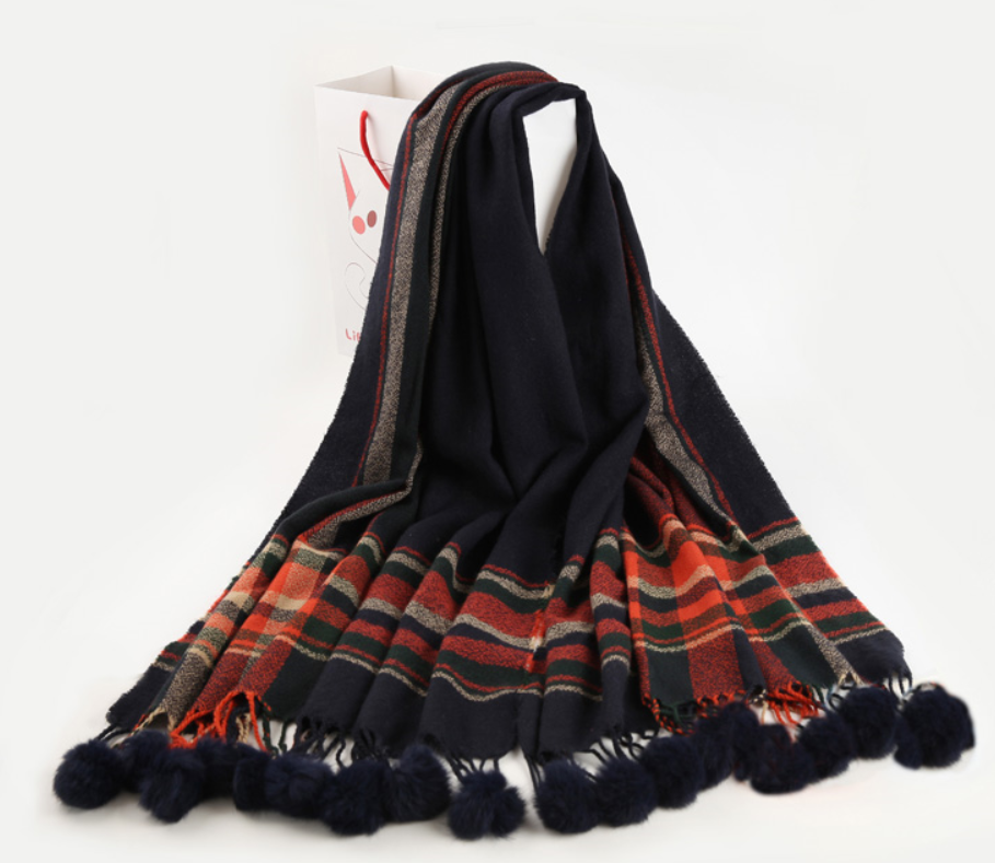 high quality woman winter plaid pashmina pom pom scarf shawl with fur ball