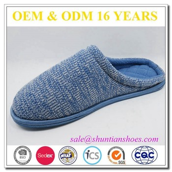 2016 fashion Cozy knitted upper with quilted sole men scuff slipper