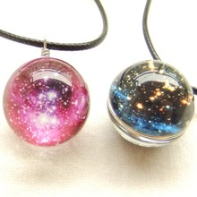 AB104 Wholesale Hot Dreamy Crystal Ball Star Short Glass Galaxy Pattern Pendant Necklace Jewelry