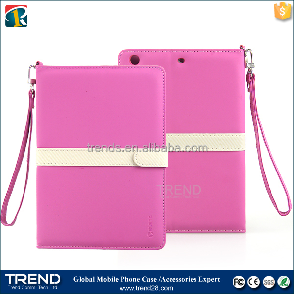 china supplier with belt folding leather flip case for ipad mini