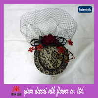 Lace covered sinamay top hat fascinator hair accessory