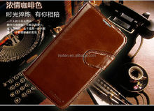 Luxury genuine leather wallet style flip folio case for Samsung S4