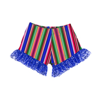 DK-027-TXG Wholesale Soft Comfortable Blue Serape Print Sequin RuFfle Girls Shorts Kids Bloomers Baby Shorts