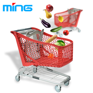 Light weight grocery supermarket plastic shopping push trolley cart