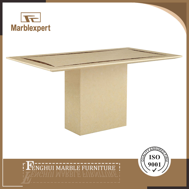 Beige paper marble top dining room table for cafe