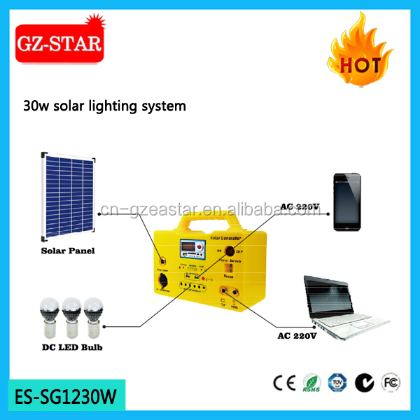 Customers first portable mini solar system 30w with fan and tv