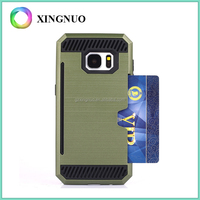 Dual Layer Hair Line Cover Card Slot PC Case For Samsung Galaxy S7 Edge Case