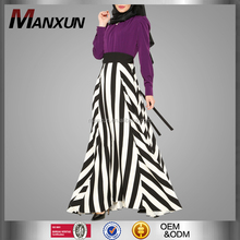 Muslim Fashion Purple Stand Collar Dress Abaya Broad Black And White Stripes Long Skirt For Islamic Ladies