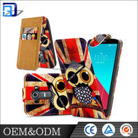 Promotion ! high quality Custom designed flip pu leather case for lg g4 with card holder