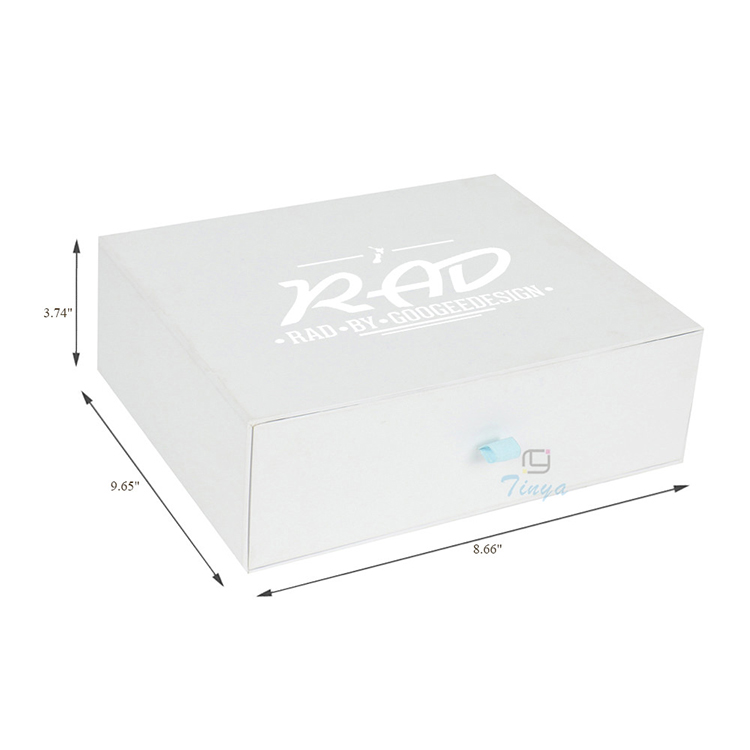 logo printed white custom hair drawer box