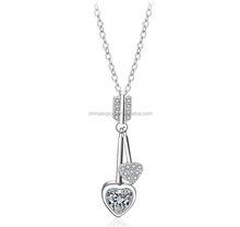 925 sterling silver jewelry double interlinking heart pendant necklace