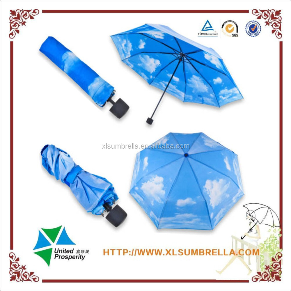 Sunny sky cloud umbrella sun compact folding blue