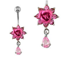 Beautiful fancy crystal fake magnetic body piercing jewelry fake hanging belly button rings