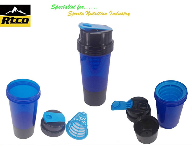 500ml pp plastic bpa free shaker mug with strainer and for Decor 500ml container