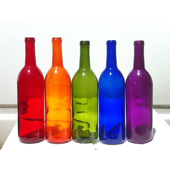 High quality 750ml colored glass wine bottles