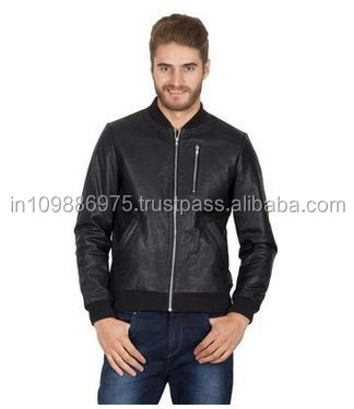 100% Pure Leather Biker Jacket Mens