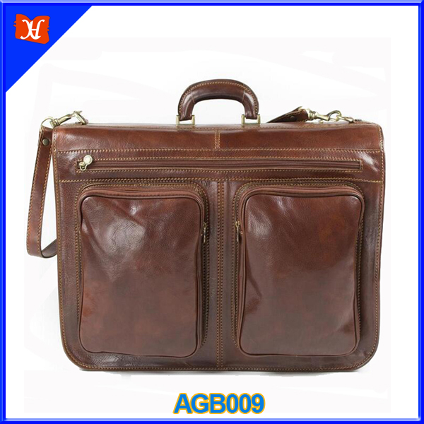 Luxury Genuine Leather Suit Bag Foldable Leather Travel Garment Bag