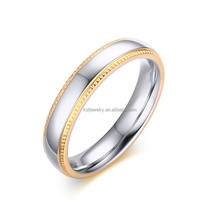 2016 newest silver plating gold heart edge design stainless steel ring wholesale fashion jewelry manufactory in china