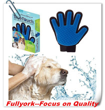 As Seen On TV Five Finger True Touch Deshedding Glove Pet Grooming Bath Glove Brush