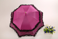 Manual Open Vintage Umbrellas Lady Parasol Black Pagoda Shaped Gothic Style Umbrella