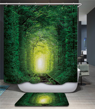 Cheap wholesale green woods polyester 3d shower curtain for the bathroom bath shower windows curtain