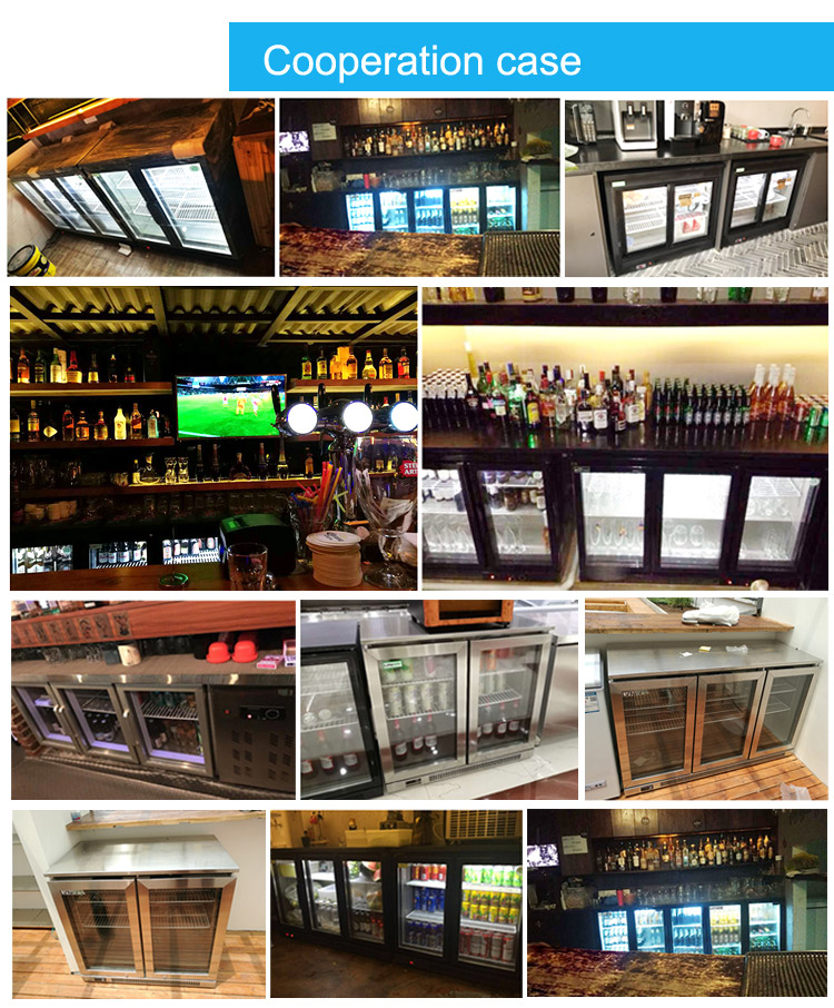 LVNI high-end stainless steel 3 glass sliding door display bar club custom beer fridge cooler