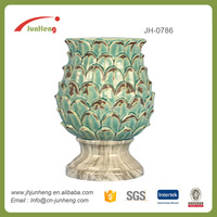 Home Garden Glazed Blue Pinecone Ceramic