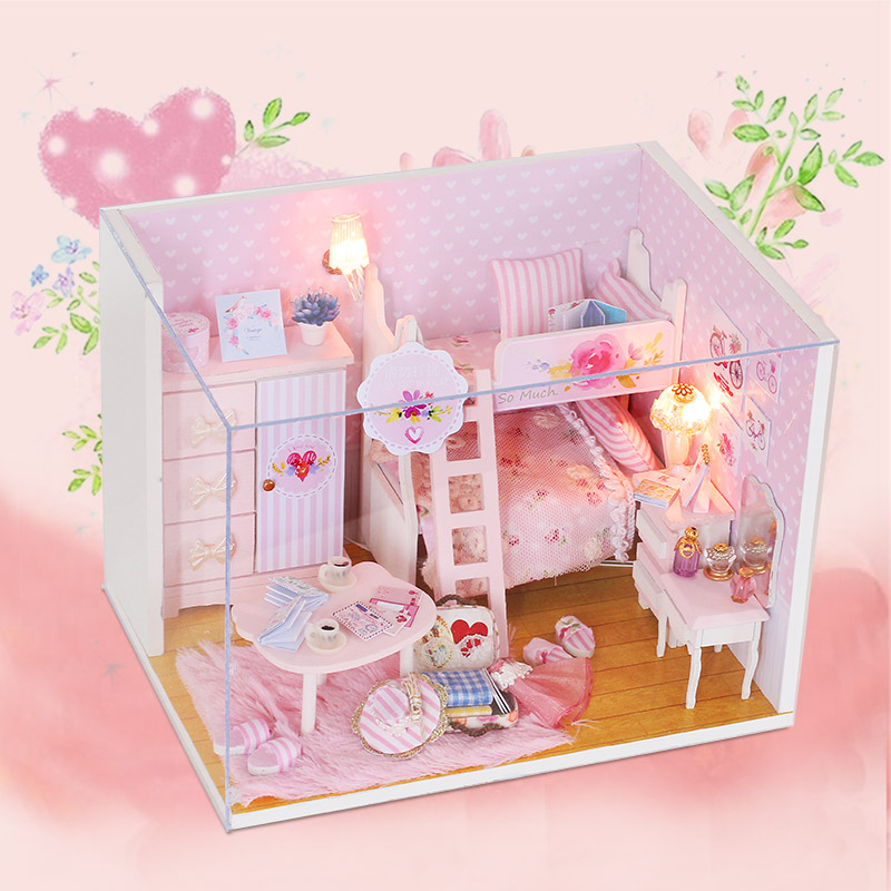 Pink Miniature DIY Wooden Dollhouse Mini Creative Room With Furniture, Accessories & Kits | Cute Elegant Dollhouse With Lights