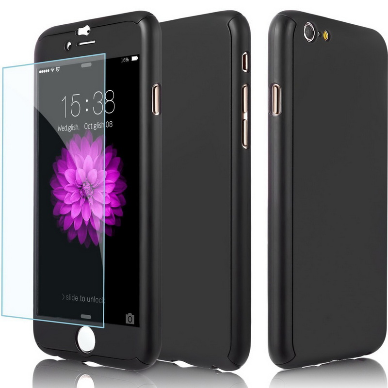 Slim Hybrid 360 Full case Tempered Glass Case For iPhone 6 6s 7 Plus 5 SE