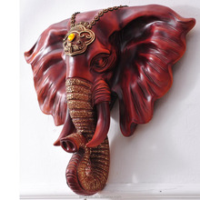 Creative resin carved elephant head modern animal heads wall decor