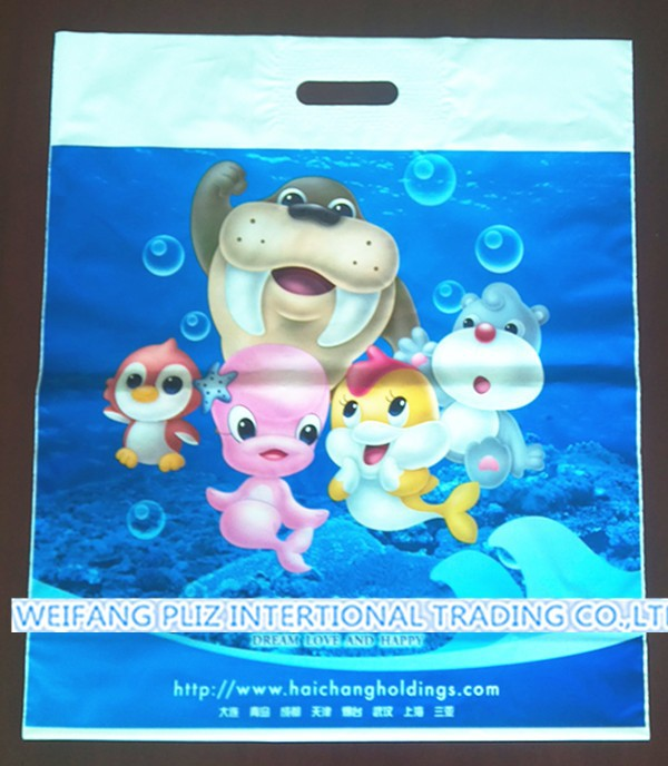 high quality customized printing plastic die cut bags with patch handle