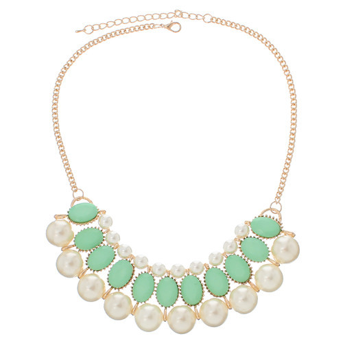 Fashion Jewelry Necklace Gold Plated Green Findings White Acrylic Pearl Imitation Ball With Lobster Clasp 46.5cm