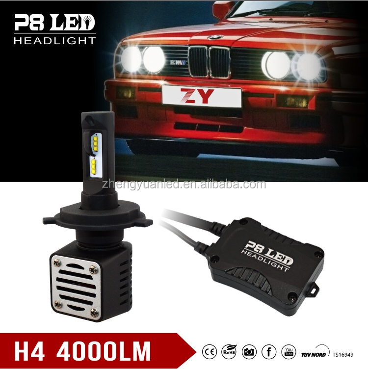 ZY Brightest 80W 8000lm H4 led headlight / 12v Motorcycle P8 Auto LED H4 conversion kits 40w 4000Lms