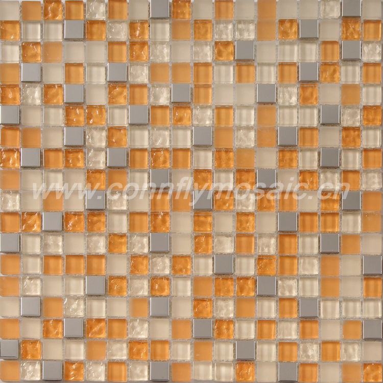 Stainless steel metal mixed orange glass mosaic tile(CFC143M)