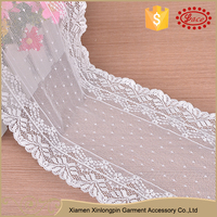 China supplier white spandex eco friendly dress lace embroidery fabric trim