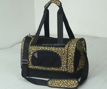 Foldable leopard pet carrier bag dog cat