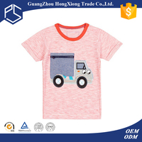 China Factory Hongxiong Latest Style 180 Grams Short Sleeve Round Neck Cotton Embroidered Logo Pink Childrens T-Shirt