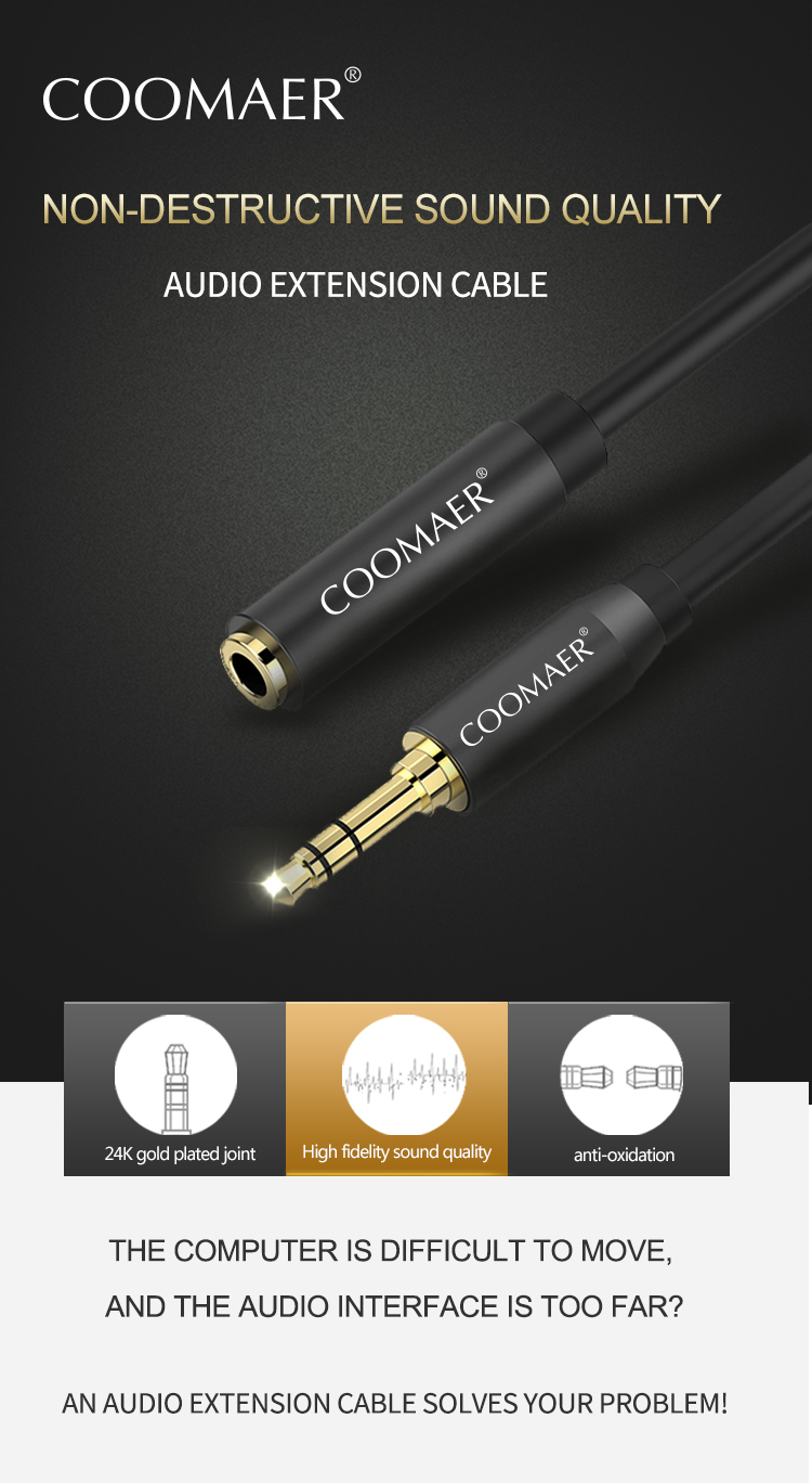 High Quality PVC 3.5mm Headphone Extension Male to Female Stereo Copper Audio Cable
