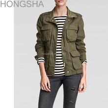Military Jacket Women Khaki Green Multi Pocket Cargo jacket HSC1236