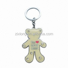 metal key chain/metal key ring/ custom key chain bear with fake diamonds