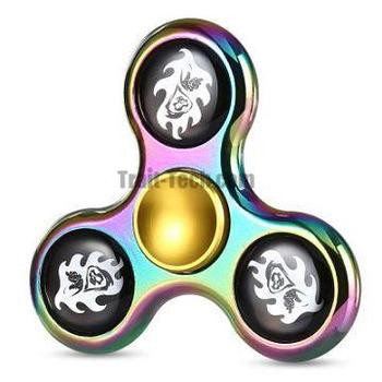 Tri-wing Skull Fire Rainbow Zinc Alloy Fidget Spinner Funny Stress Reliever Relaxation Gift
