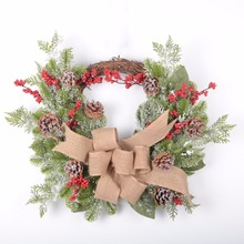 Artificial Christmas Wreath with Ribbon and Red Berry Christmas garland ornament